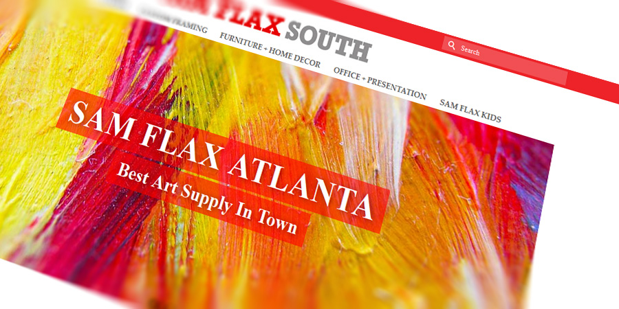 Web store for Sam Flax - art supply store. Web design by Start Creator