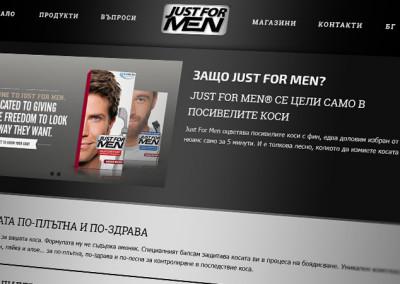 Just For Men – България: Фирмен сайт с галерия продукти