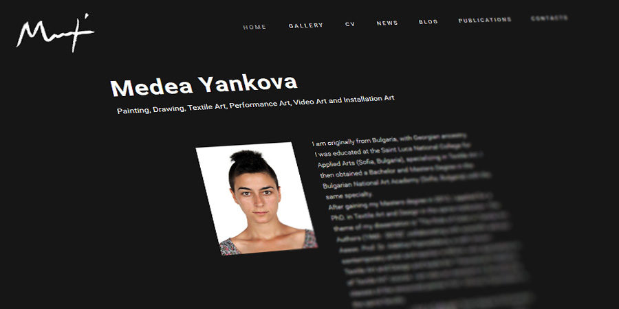 Medea Yankova's personal web site with gallery and blog, designed by Start Creator