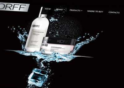 Уебсайт с галерия продукти за козметиката на Korff