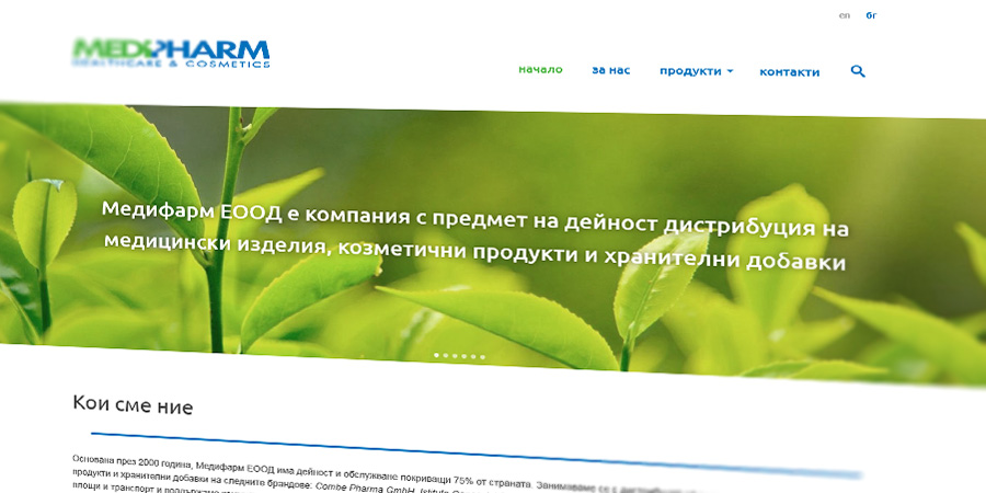 Medipharm Company Site - web design by Start Creator