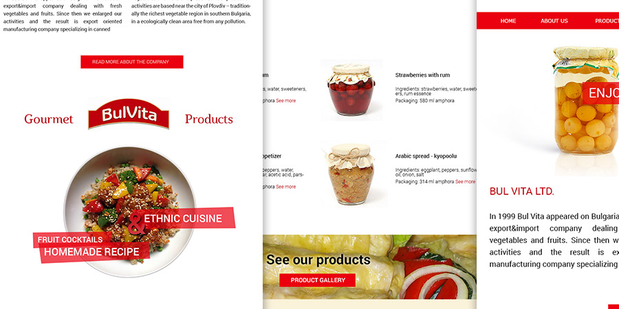 Web site for a business, canned food company, custom design and product photo editing. Designed by Start Creator